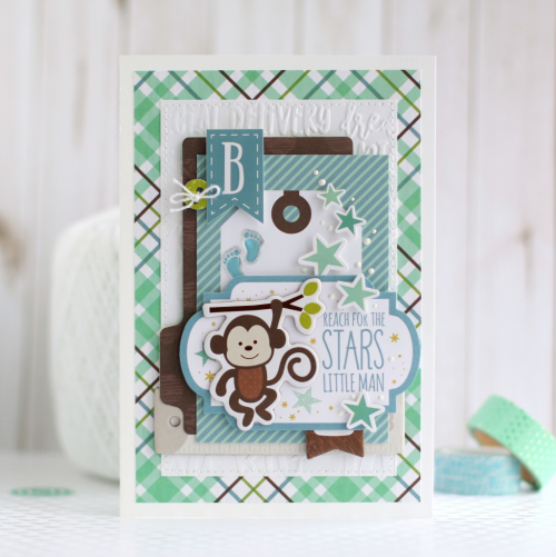 "Baby Monkey card by Anya Lunchenko featuring the ""Sweet Baby Boy"" collection by #EchoParkPaper"
