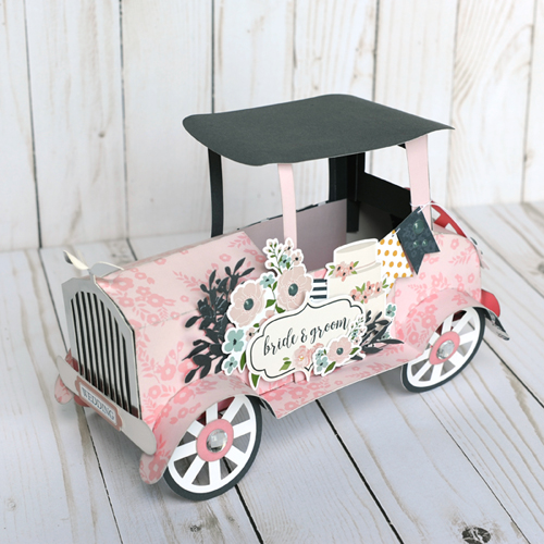 "Vintage Car Paper Wedding Decor created by Jana Eubank with the ""Just Married"" collection by #EchoParkPaper"