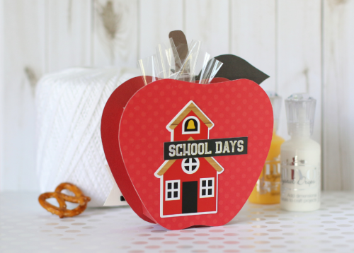"""Back to School"" apple shaped box by Anya Lunchenko for #EchoParkPaper"