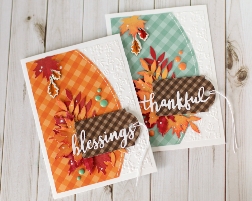 Autumn Gingham Card Set by Anya Lunchenko featuring products from #EchoParkPaper, including Dots and Stripes, Autumn Gingham, Designer Dies, and Designer Embossing Folders.