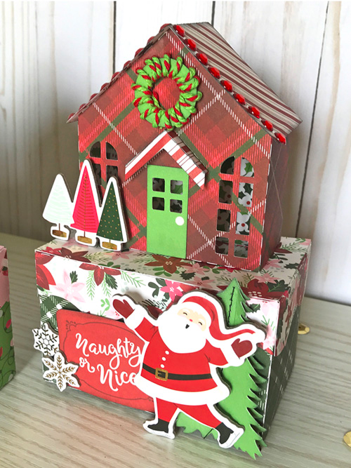 "Christmas House Gift Boxes by Jana Eubank with the ""Merry & Bright"" collection kit by #EchoParkPaper"