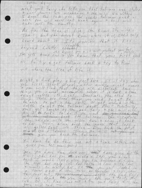 """""""Many of the items in our donation … were never intended to be seen. For instance, Roberta has always kept secret her design documents for the King's Quest series. These thick documents, with all of her hand-written notes, have sat on her desk for nearly twenty years.""""—Ken Williams (Courtesy of The Strong, Rochester, New York)"""