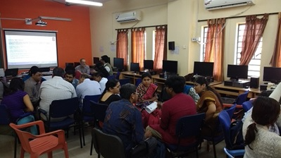 Attendees of the workshop held at Jadavpur University in December 2016 taking part in a group activity to discuss the application of digital humanities methods to library collections