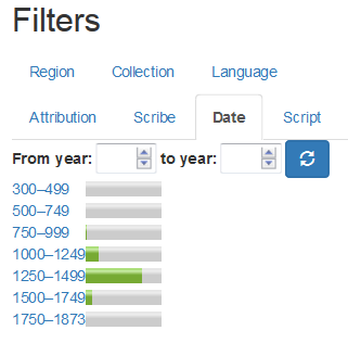 Screenshot of filters in Thomas CIM interface II