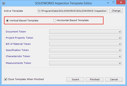 solidworks inspection template editor