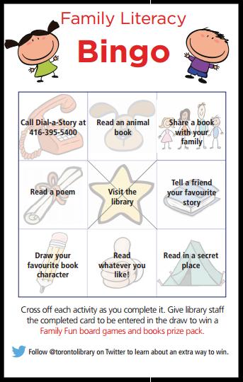 Family literacy bingo card