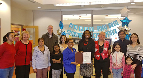 Morningside Branch staff and customers celebrating 50 years of library service
