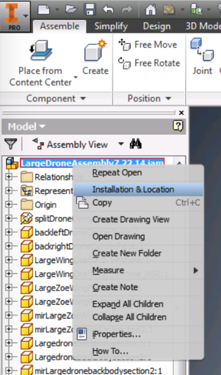 Assembly Level Installation Location definition