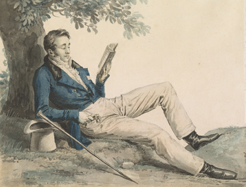 Julien Léopold Boilly  1796-1874  Young Man Reading Under A Tree  Morgan Library and Museum 2