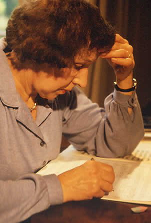 Photograph of Rosemary Brown composing music