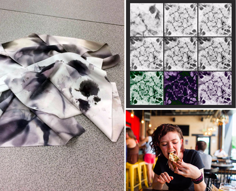 Ink-stained microfiber towels are turned into a beautiful design through the use of manipulation in Photoshop.