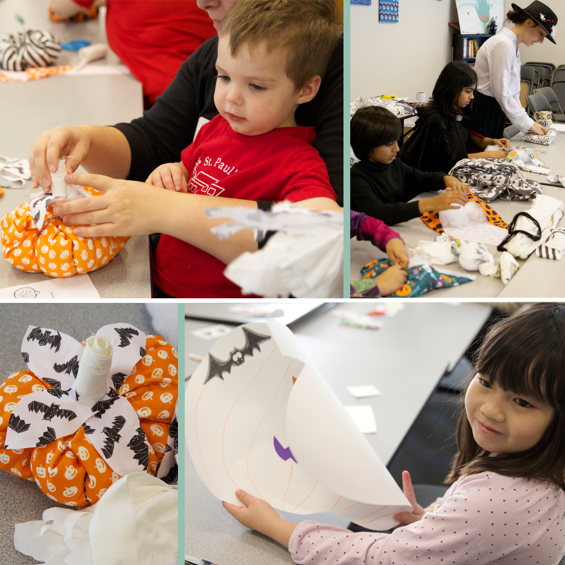 Kids crafting at the Halloween event in the Spoonflower Greenhouse