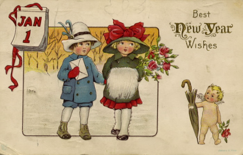 Cartoon boy and girl holding hands; Jan 1 on a calendar in the top left corner a small cherub offering an umbrella in the bottom right