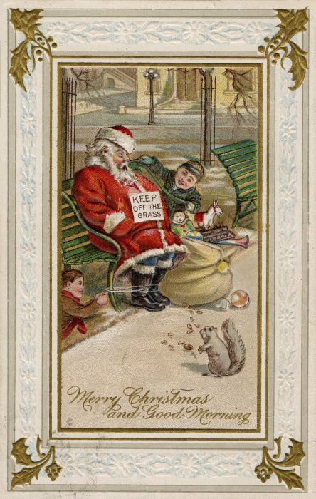 Santa Claus asleep on a park bench  with a bag of toys and appears to be the victim of some prank - his feet are tied to the bench. A squirrel is eating nuts in front.