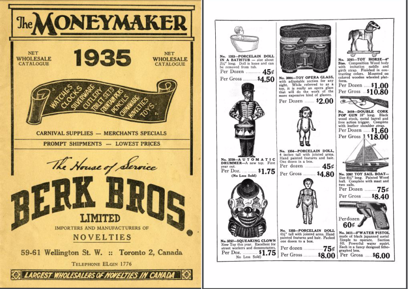 All text cover of The Moneymaker catalogue  next to one of the inside pages showing various toys with prices  like Toy Opera Glass  Toy Horse  Squeaking Clown and more
