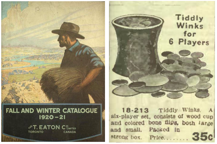 Cover of Eaton's catalogue of a man in the fields with a cowboy hat  and an image from inside showing a toy container with disks inside and outside of it