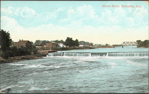 Illustrated postcard of wider river with a few buildings on the shore and a bridge in the distance