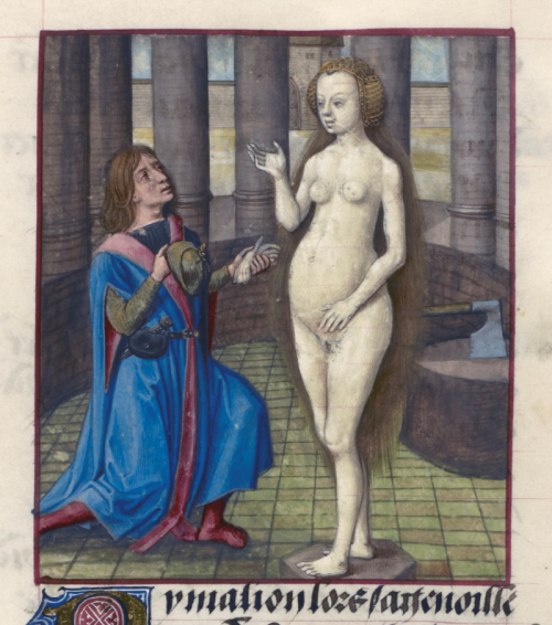 A detail from a medieval manuscript of the Romance of the Rose, showing the sculptor Pygmalion and the sculpture he carved and fell in love with.