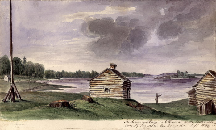 Watercolour painting of log cabins beside a lake.