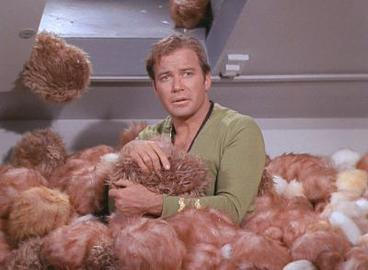 Captain Kirk and the tribbles